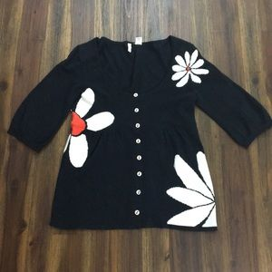 Anthropologie Moth black cardigan with daisies